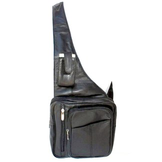 Genuine Leather  Large Black Sling Messenger Backpack Organizer