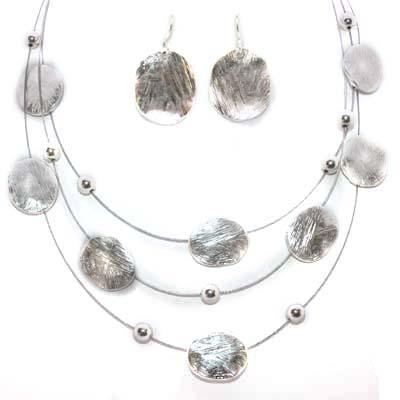 Brushed Ovals 3-Layer Silver Pl Necklace ER Set
