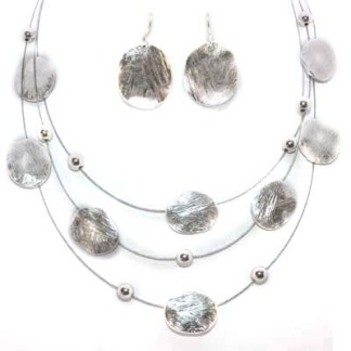 Brushed Ovals 3-Layer Silver Pl Necklace ER Set