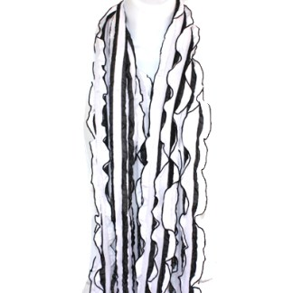 Elegant Ruffled White Black Soft Light Shawl Scarf Wrap