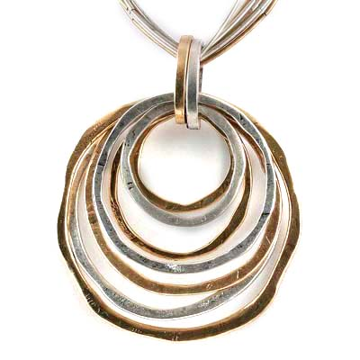 Tri Tone Sculptured Circle Slider Liquid Metal Necklace