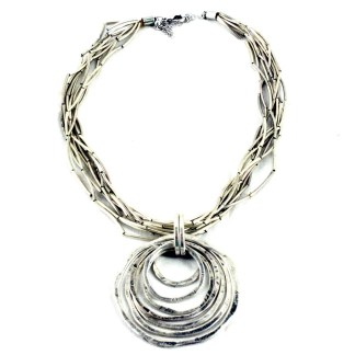 Silver Plated Matt Finish Amarisa Circle Slider on Multilayer Liquid Metal Necklace 18+3""
