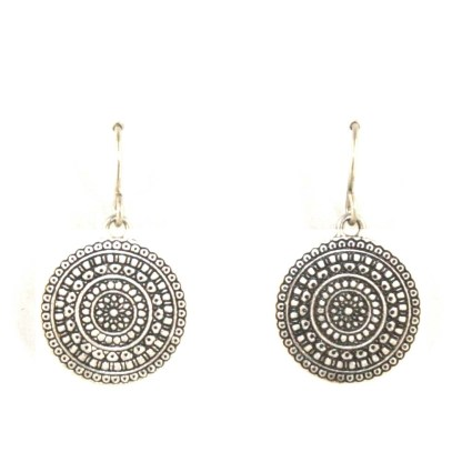 Round Floral Motif Center Pendant Black Cord Silver Plated Necklace Earring Set