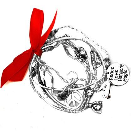 Set of 6 Stretchy Silver Bracelets Peace Love Buddha Good Luck Karma Charms