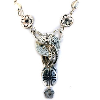 Artisan Matt Silver Plated Charms Karma Buddha Harmony Charm Y- Necklace