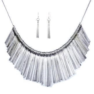 Pointy Drops Bib Necklace Earring Set Silver Rhodium Plated Laser Cut Finish
