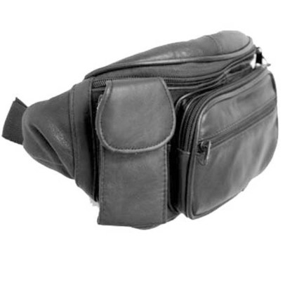 Genuine Leather Black Fanny Pack Waist Bag Phone & Bottle Holder Fits All Sizes