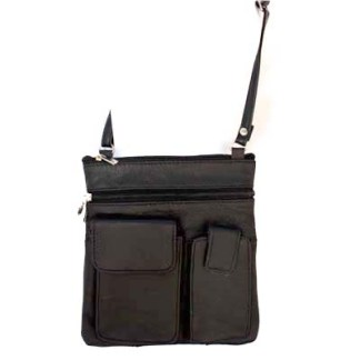 Genuine Leather Black Shoulder Cross Body Travel Bag