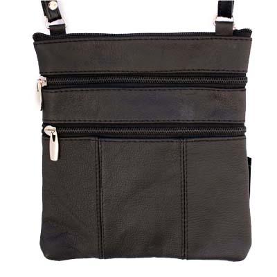 Genuine Leather Black Shoulder Cross Body Travel Bag