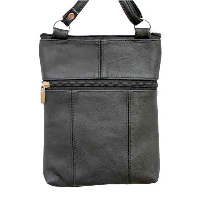 Genuine Leather Black Shoulder Round Pocket Cross Body Bag
