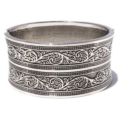 Bali Motif Silver Rhodium Pl Wide Hinged Bangle Cuff Bracelet Slight Inner Dome