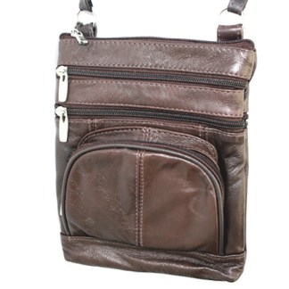 Genuine Leather Brown Shoulder Round Pocket Cross Body Silver Fever® Bag