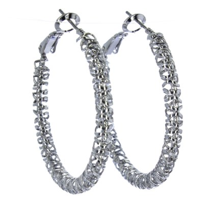 Hoop Earrings Lever Back Closure Wrap Around Wire Silver
