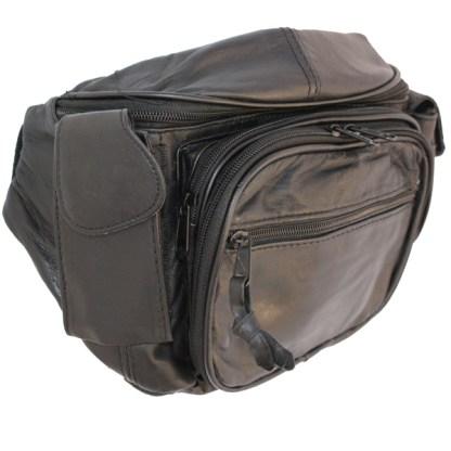 Genuine Lambskin Leather Medium Black Zip Fanny Pack Cellphone Holder Organizer
