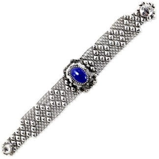 Sergio Gutierrez Liquid Metal Dimnd Mesh Bracelet Oval Genuine Lapis Lazuli Center