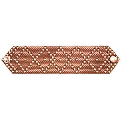 Sergio Gutierrez Liquid Metal Bracelet Wide Diamond Pattern Rose Gold