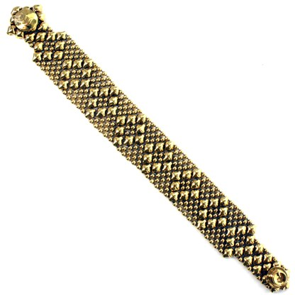 Sergio Gutierrez Liquid Metal Bracelet Nerrow Diamond Pattern Antiqued Gold