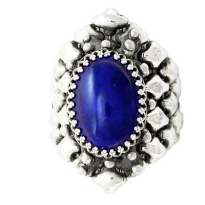 Sergio Gutierrez Liquid Metal Oval Lapis Lazuli Gem Center Stone Ring