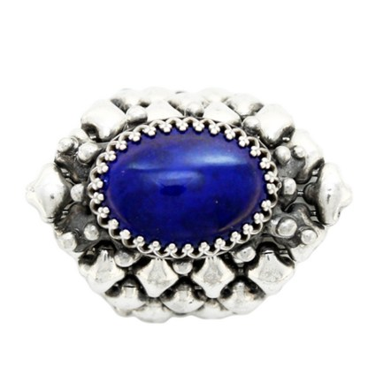Sergio Gutierrez Liquid Metal Oval Lapis Lazuli Gem Center Stone Ring