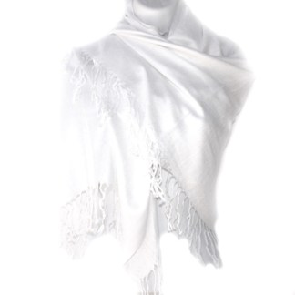 Nepal Solid White 2 Ply Pashmina Shawl Scarf Stole