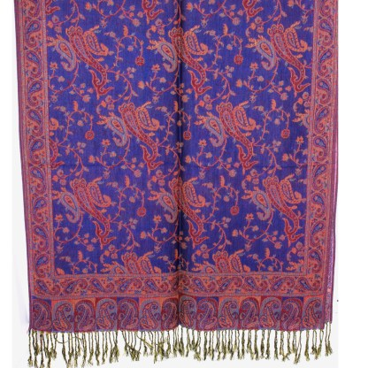 Silver Fever Pashmina - Jacquard Paisley Shawl - Stylish Scarf - Double Sided Wrap Cobalt Red