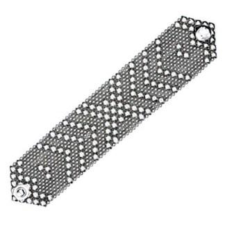 Sergio Gutierrez Liquid Metal Wide Flexible Cuff Bracelet Crossing Arrows Size Variation