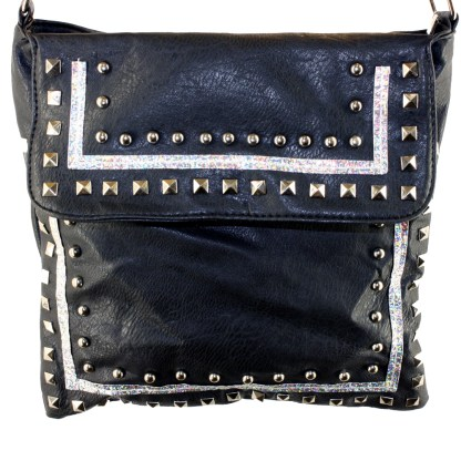 Zippered Crystal & Metal Studded Purple Crossbody Messenger Bag