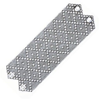 "Sergio Gutierrez Liquid Metal Extra Wide 2.75"" Diamond Pattern Cuff Bracelet fits 6""-6.5"""