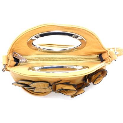 Silver Fever® Rose Applique Mini Clutch Crossbody Handbag Sand
