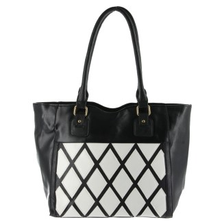 Argile Applique Patchwork Two Tone Large Shoulder Tote Handbag Black White
