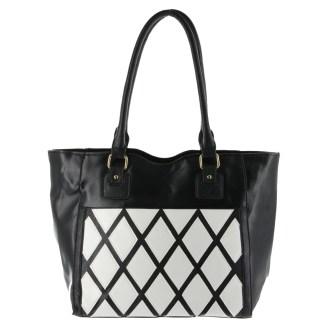 Argile Applique Patchwork Two Tone Large Shoulder Tote Handbag Black White