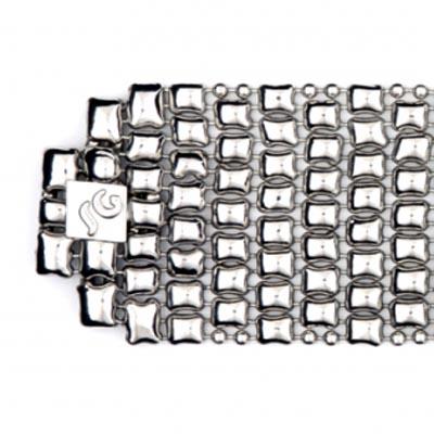 "Sergio Gutierrez Liquid Metal Wide Size 1 1/2"" Flexible Cuff Bracelet"