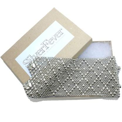 "Sergio Gutierrez Liquid Metal Extra Wide 2.75"" Diamond Pattern Cuff Bracelet Fits 71/2"" - 7 3/4"" Wrist"