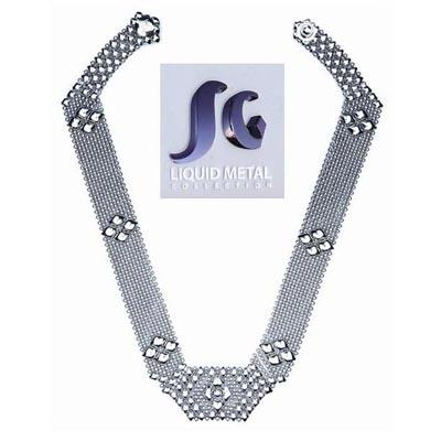 "Sergio Gutierrez Liquid Metal Flexible Mesh Egyptian Collar Necklace 18"""
