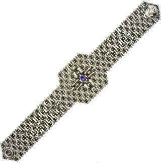 Sergio Gutierrez Liquid Metal Mesh Wide Cuff Bracelet Coss Setting Blue Sapphier Crystal Center