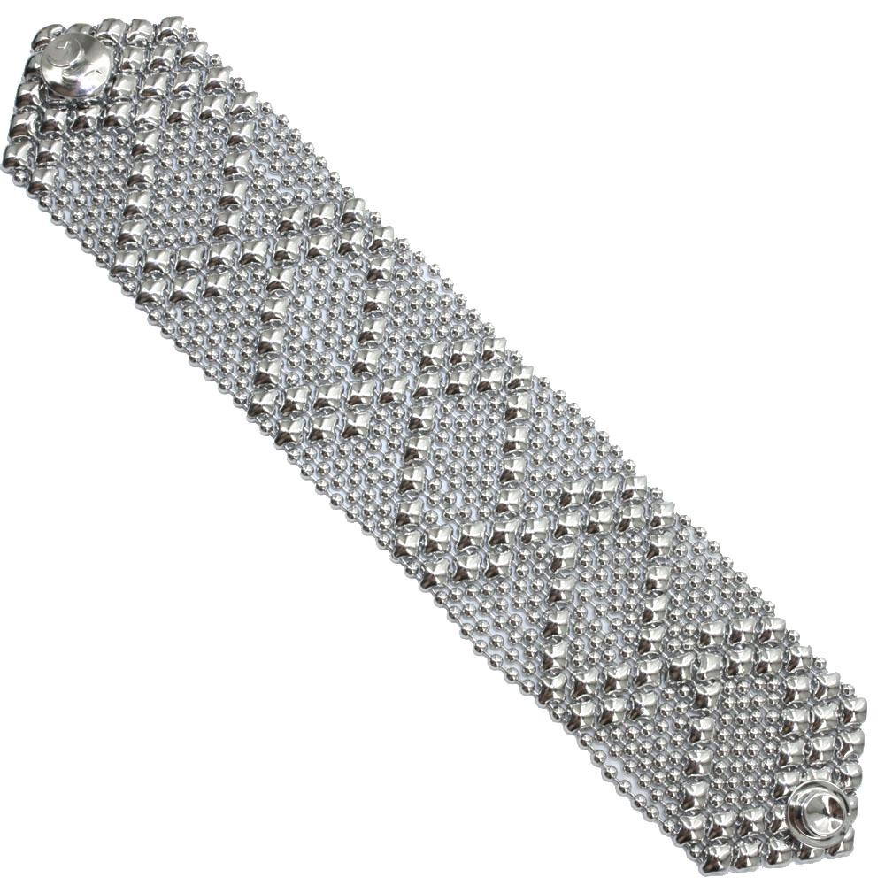 32c98cf0ead Sergio Gutierrez Liquid Metal Mesh Cuff Bracelet Zig Zag Pattern