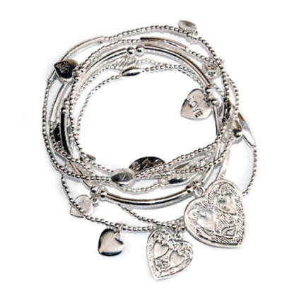 Love Good Karma Two Hearts Charm Bracelet Set of 6 Silver