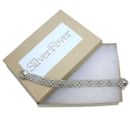 Sergio Gutierrez Liquid Metal Mesh Cuff Bracelet Tiny Ball Diamond Pattern TB35