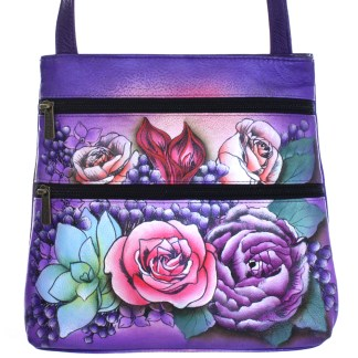 Anuschka Gen Leather Small Travel Crossbody Bag Handpainted Lush Lilac