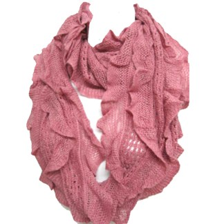 Elegant Pink Soft Woven Infinity Loop Figure Eight Endless Scarf Wrap