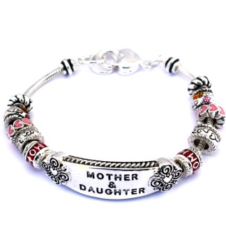 Gift for Mother Daughter Friend ID Multi Bead Sliding Charms Silver Bracelet