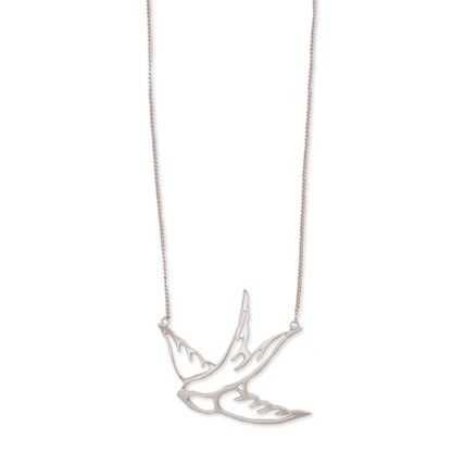 Silver Fever® Dainty Dove Charm Necklace