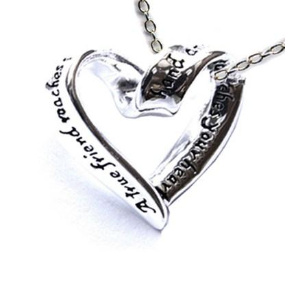 """Best Gift Love Frienship True Friend Ribbon Heart Sterling Silver Necklace 18"""""""