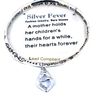 Mom's Gift Infinity Silver Bangle Bracelet Mothers Holds Child's Heart Forever