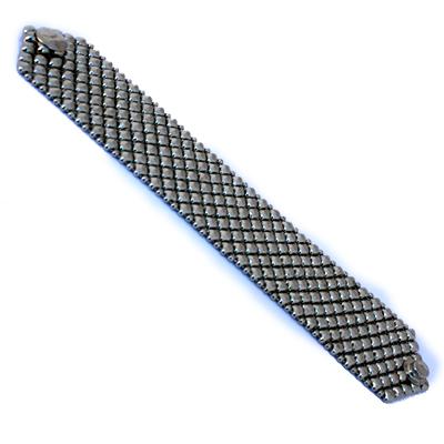 "Sergio Gutierrez Liquid Metal Mesh Cuff Bracelet Diamond Studded Pattern 7"",B8"