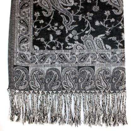 Silver Fever Pashmina - Jacquard Paisley Shawl - Stylish Scarf - Double Sided Wrap Black Silver