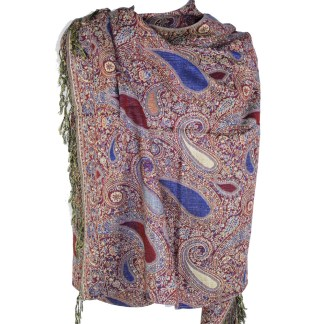 Vintage Paisley Teardrop Twist Rich Double-Sided Pashmina Shawl Scarf Burgundy Navy