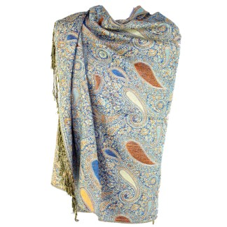 Vintage Paisley Teardrop Twist Rich Double-Sided Pashmina Shawl Scarf Teal Beige