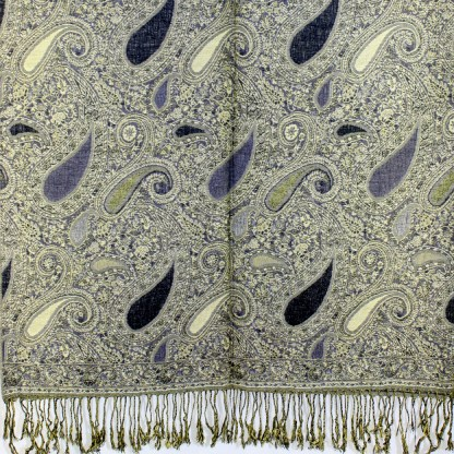 Vintage Paisley Teardrop Twist Rich Double-Sided Pashmina Shawl Scarf Sand Gray