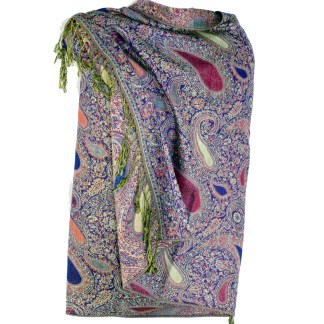 Vintage Paisley Teardrop Twist Rich Double-Sided Pashmina Shawl Scarf Purple Pink